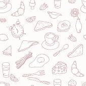 Hand drawn breakfast seamless pattern. outline slyle. Doodle food vector background