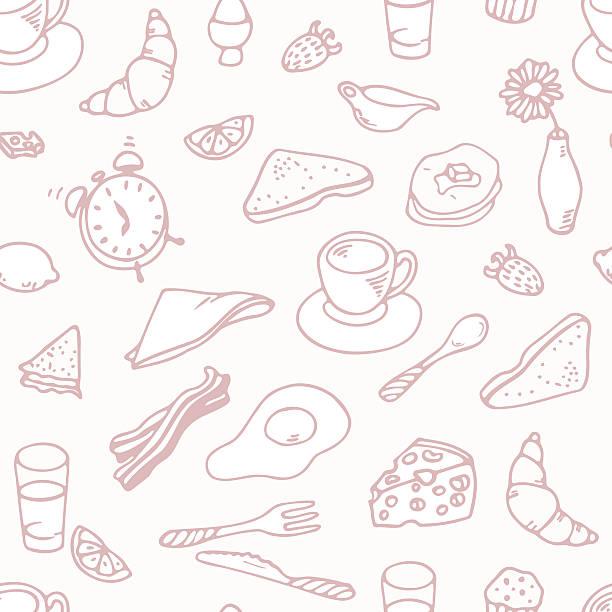 ilustraciones, imágenes clip art, dibujos animados e iconos de stock de contorno dibujados a mano patrón sin costuras de desayuno - desayuno