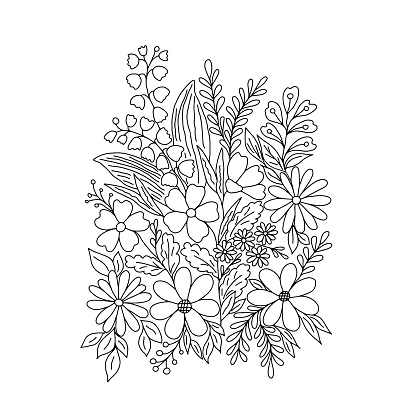 Outline hand drawn composition of fancy flowers , vector illustration for invitations, greeting cards