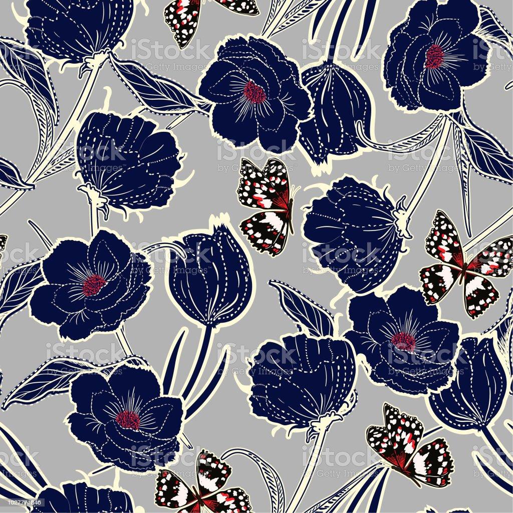 Esquema graden dibujado en el tablero la mano botánicas flores de color azul oscuros con las mariposas, diseño de moda, tela, papel pintado y todas las impresiones - ilustración de arte vectorial