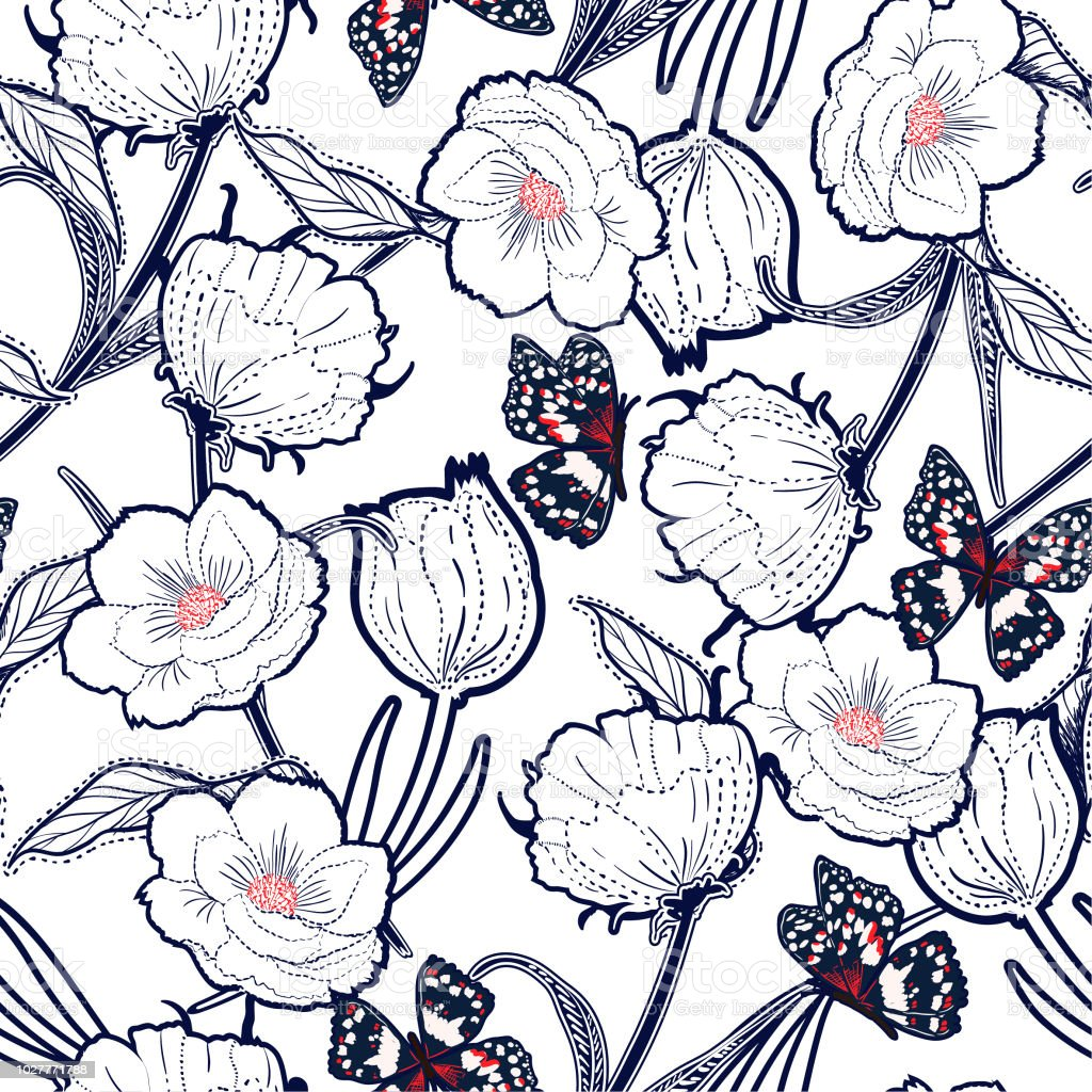 Outline hand drawn graden in the dash botanic flowers with butterflies ,design for fashion,fabric,wallpaper and all prints outline hand drawn graden in the dash botanic flowers with butterflies design for fashionfabricwallpaper and all prints - immagini vettoriali stock e altre immagini di arte royalty-free