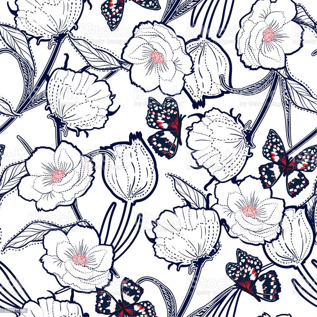 Contorno de mano graden dibujado en el tablero botánicas flores con mariposas, diseño de moda, tela, papel pintado y todas las impresiones - ilustración de arte vectorial