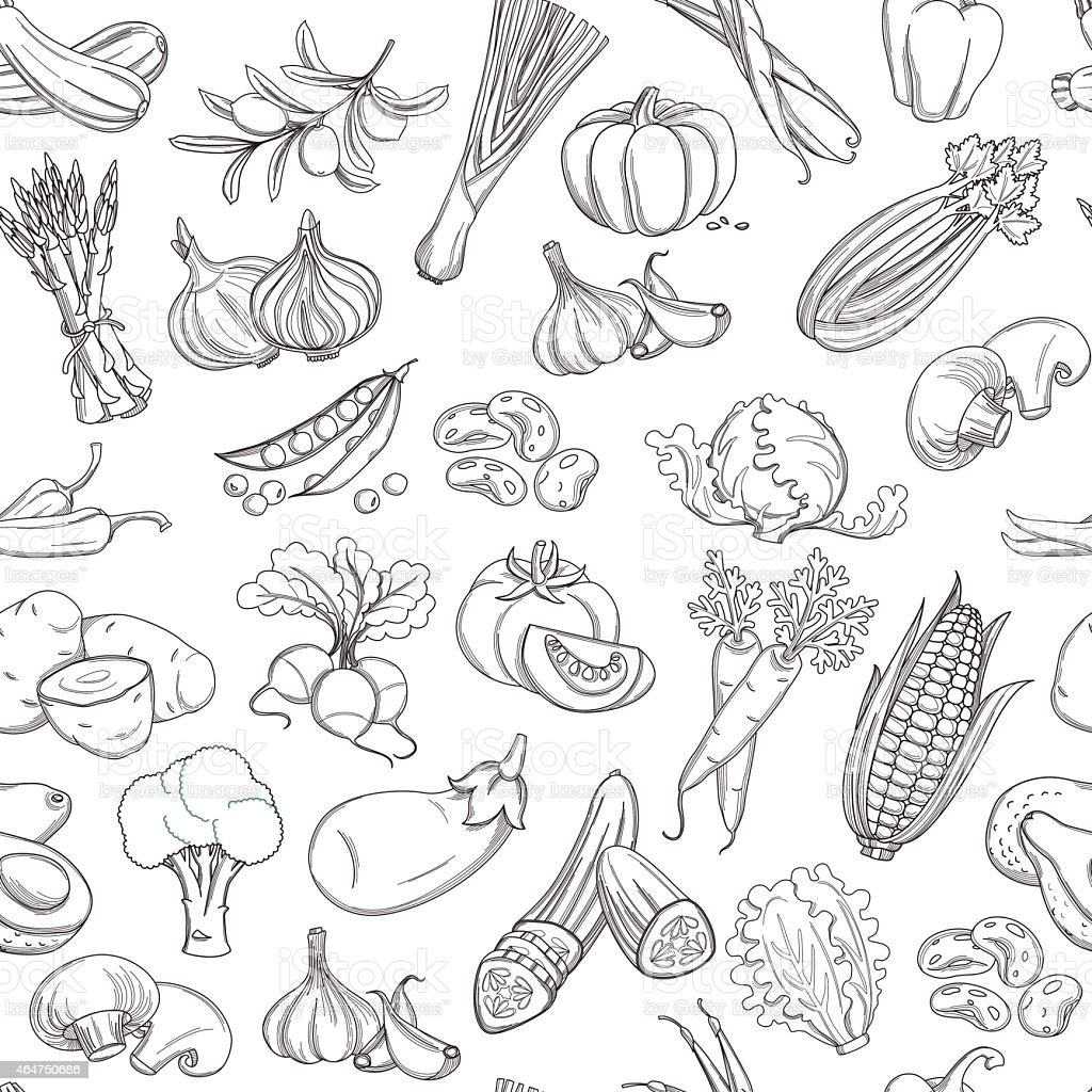 outline hand drawn vegetable pattern stock vector art 464750686