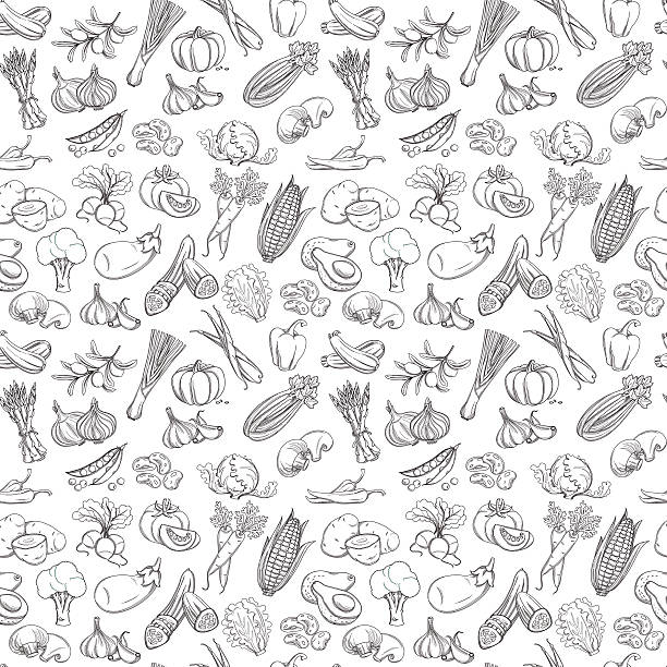 Outline hand drawn vegetable pattern (flat style, thin  line) Vector illustration Outline hand drawn vegetable pattern (flat style, thin  line). Black and white cooking designs stock illustrations