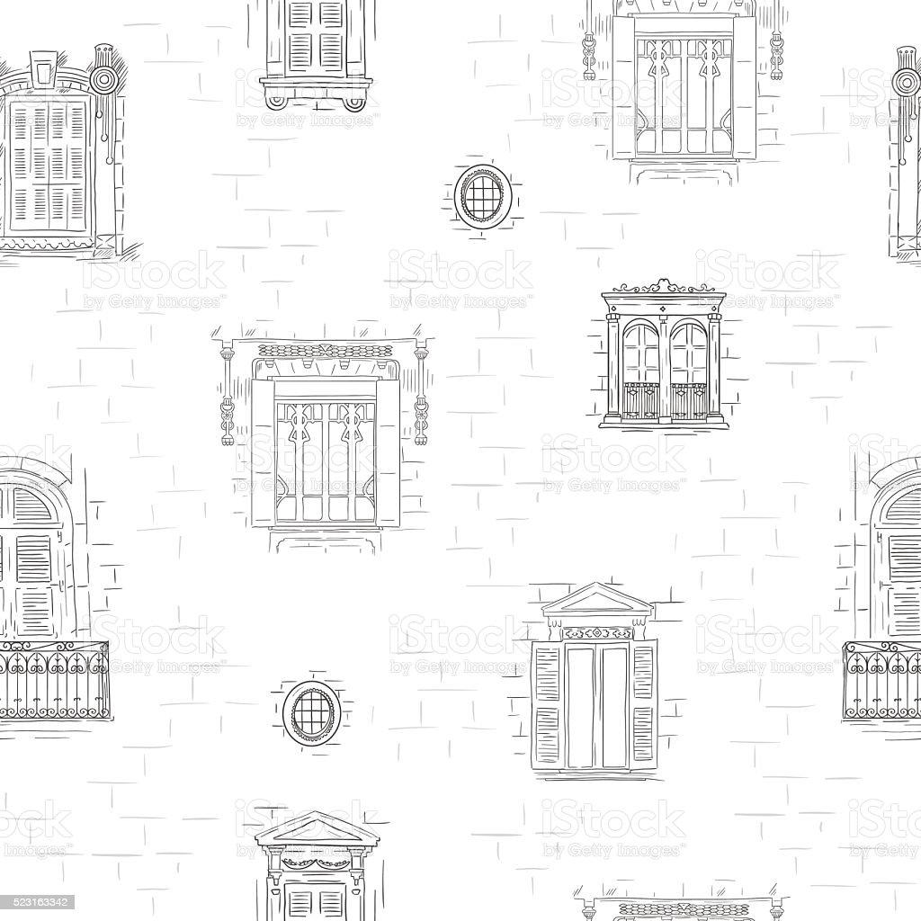 Outline hand drawn windows pattern background. Vintage architecture line wallpaper vector art illustration