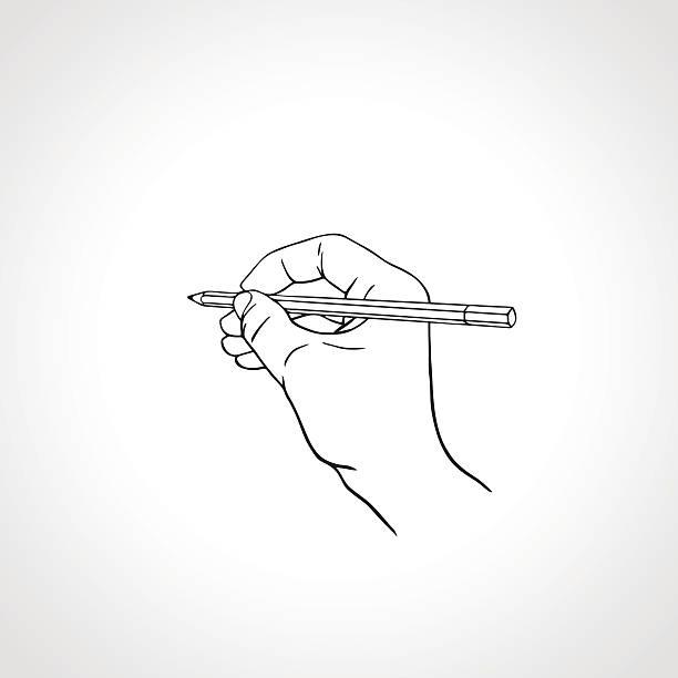 stockillustraties, clipart, cartoons en iconen met outline hand writing with a pencil. vector illustration - menselijke hand