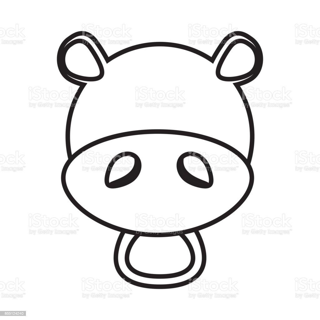 outline hippo head animal stock vector art 855124240 istock