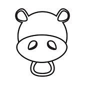 outline hippo head animal
