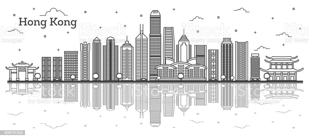Outline Hong Kong China City Skyline with Modern Buildings and Reflections Isolated on White. vector art illustration