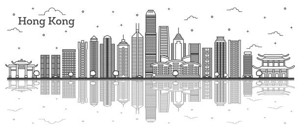 illustrazioni stock, clip art, cartoni animati e icone di tendenza di outline hong kong china city skyline with modern buildings and reflections isolated on white. - hong kong