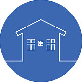 Outline House Circle Icon
