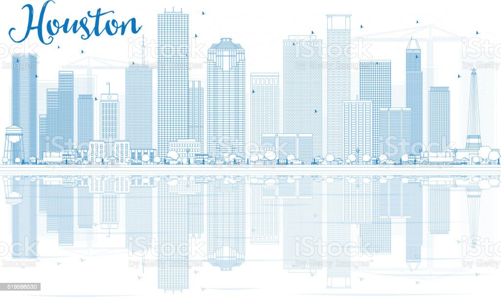 Outline Houston Skyline with Blue Buildings and Reflections.