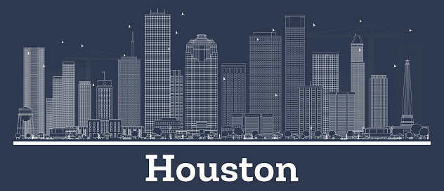 Outline Houston Texas City Skyline with White Buildings.