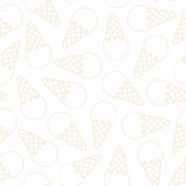 stockillustraties, clipart, cartoons en iconen met overzicht roomijs patroon. naadloos patroon met roomijs kegel. vector illustratie. - vanille roomijs