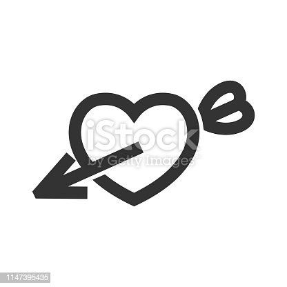 Arrow heart icon in thick outline style. Black and white monochrome vector illustration.