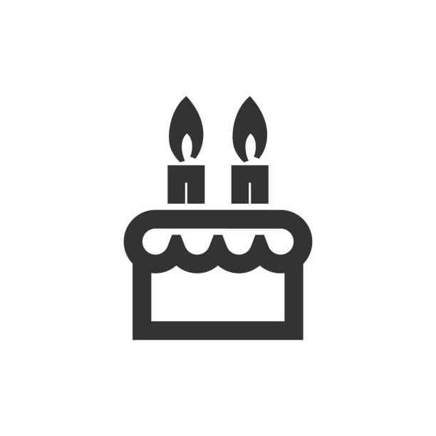 Outline Icon - Birthday cake Birthday cake icon in thick outline style. Black and white monochrome vector illustration. birthday icons stock illustrations