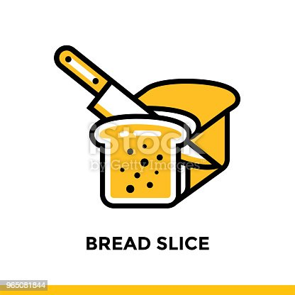 Outline Icon Bread Slice Of Bakery Cooking Vector Line Icons Suitable For Info Graphics Print Media And Interfaces - Stockowe grafiki wektorowe i więcej obrazów Bez ludzi 965081844