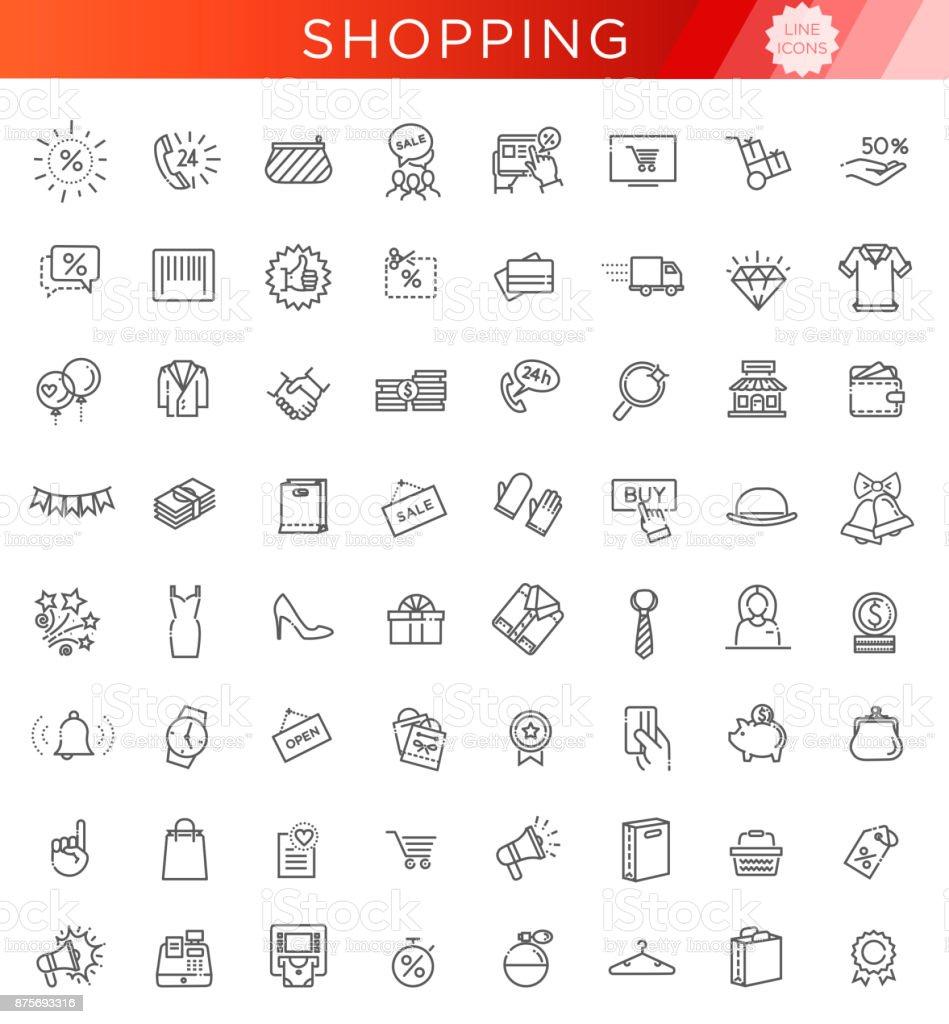 Coleção de ícone de contorno - Black sexta-feira grande venda - Vetor de Arte Linear royalty-free