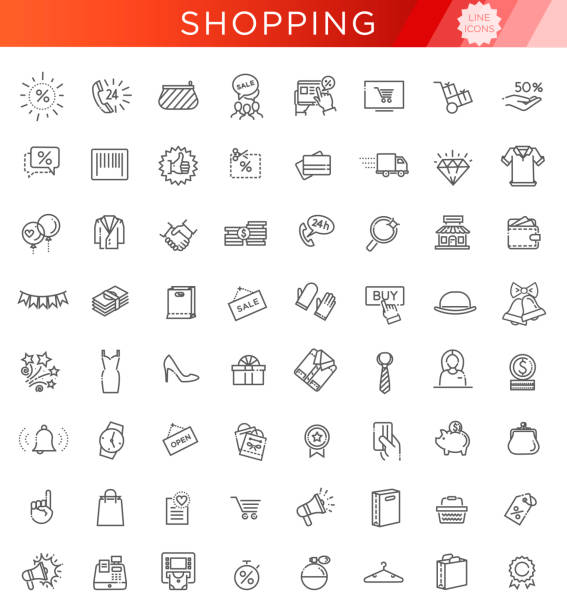 outline icon collection - black friday big sale - handel detaliczny stock illustrations