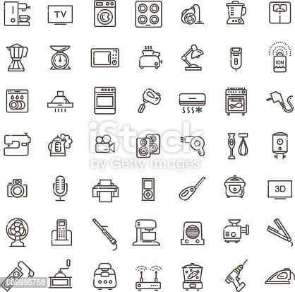 istock Outline icon collection - household appliances 666995758