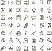 vector outline icon collection - household appliances. Electronics