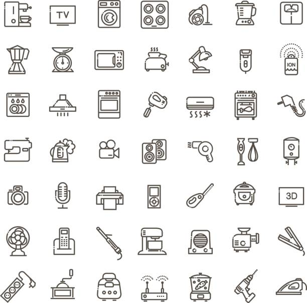 Outline icon collection - household appliances vector art illustration