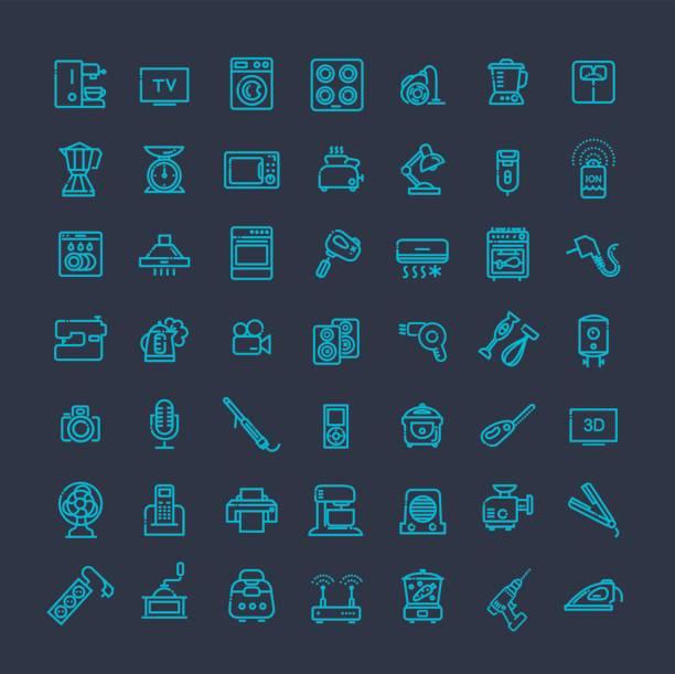 kontur icon-sammlung-haushaltsgeräte - standlautsprecher stock-grafiken, -clipart, -cartoons und -symbole