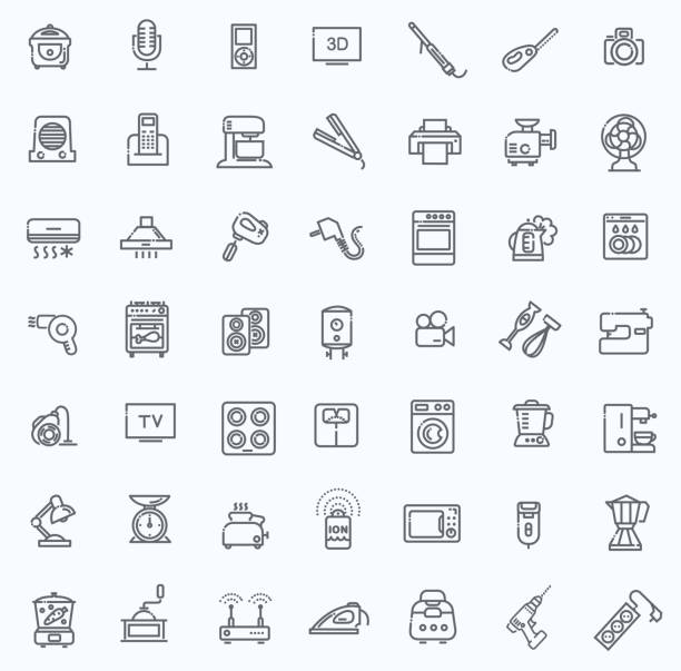 outline icon collection - household appliances - electronics stock illustrations, clip art, cartoons, & icons