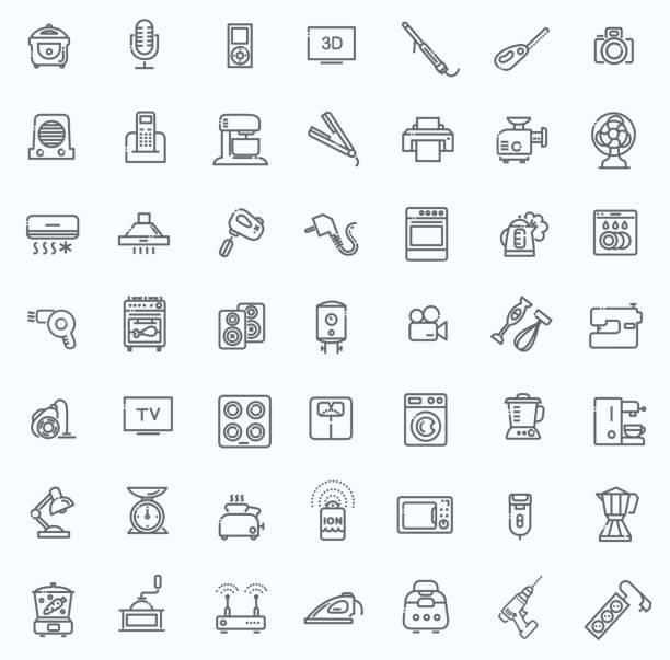 collection d'icônes de contour, électroménager - Illustration vectorielle
