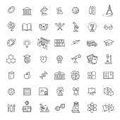 Outline vector line icon collection - School education