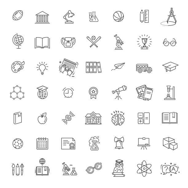 illustrazioni stock, clip art, cartoni animati e icone di tendenza di raccolta di icone di struttura - educazione scolastica. - scuola