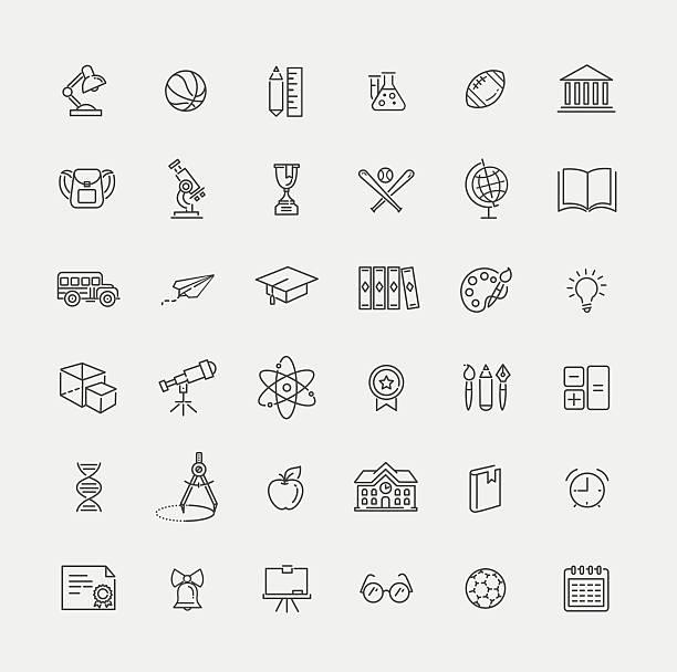 Kontur icon-Kollektion – schulischen Ausbildung – Vektorgrafik