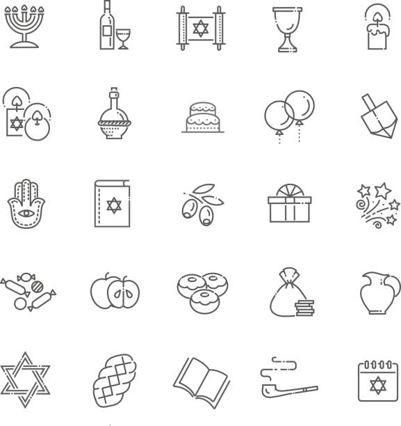 kontur icon-sammlung-symbole der chanukka - ferien  und feiertagssymbole stock-grafiken, -clipart, -cartoons und -symbole