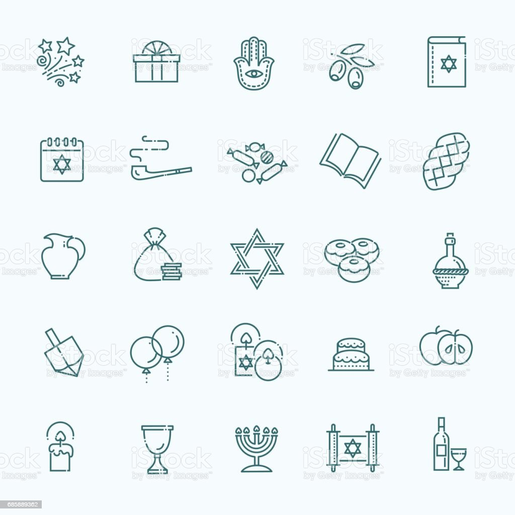 Outline icon collection - Symbols Of Hanukkah vector art illustration