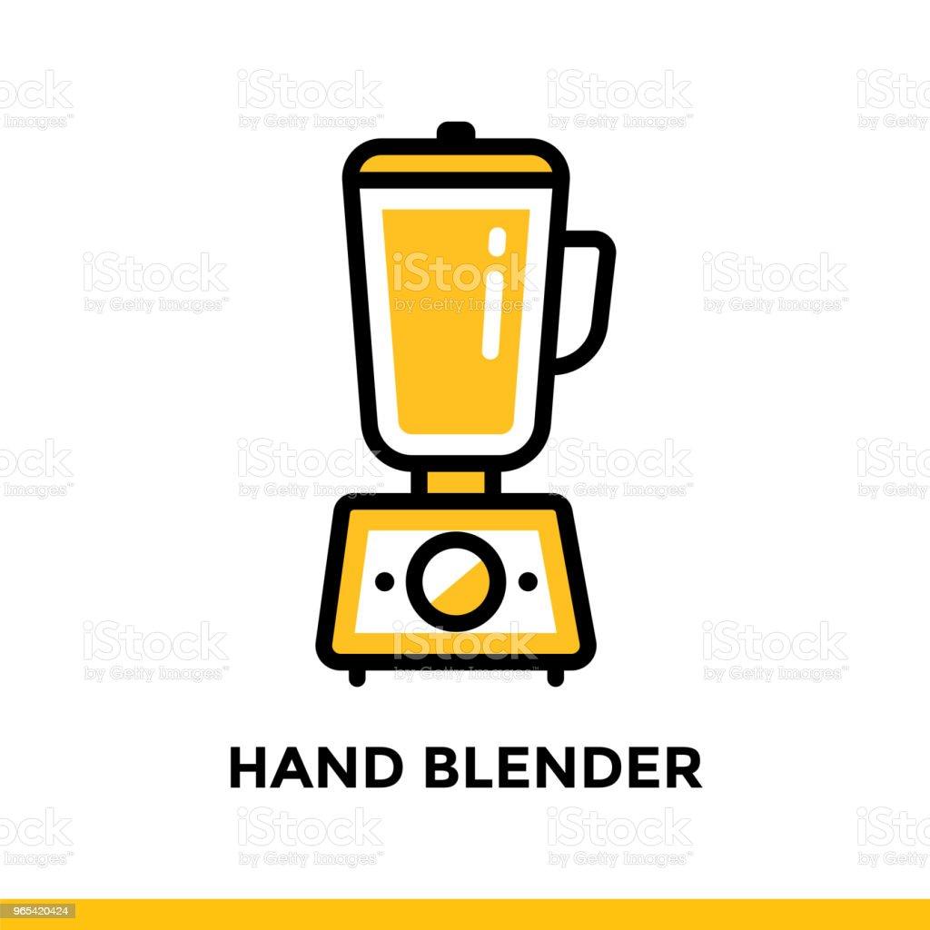 개요 아이콘 핸드 블렌더, 베이커리의 요리. 벡터 라인 아이콘 정보 그래픽, 인쇄 매체 및 인터페이스에 적합 - 로열티 프리 0명 벡터 아트