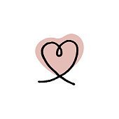 istock Outline icon heart shape on red blob, 1254523599