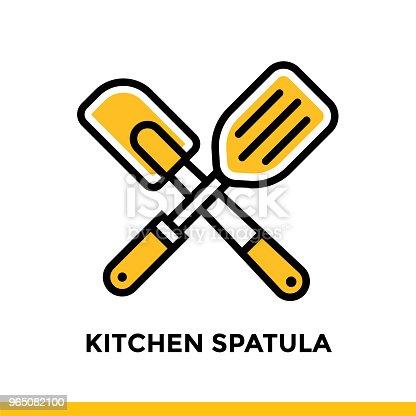 Outline Icon Kitchen Spatula Of Bakery Cooking Vector Line Icons Suitable For Info Graphics Print Media And Interfaces - Stockowe grafiki wektorowe i więcej obrazów Bez ludzi 965082100