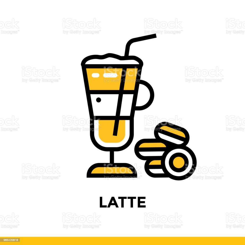 Outline icon LATTE of bakery, cooking. Vector line icons suitable for info graphics, print media and interfaces outline icon latte of bakery cooking vector line icons suitable for info graphics print media and interfaces - stockowe grafiki wektorowe i więcej obrazów gotować royalty-free