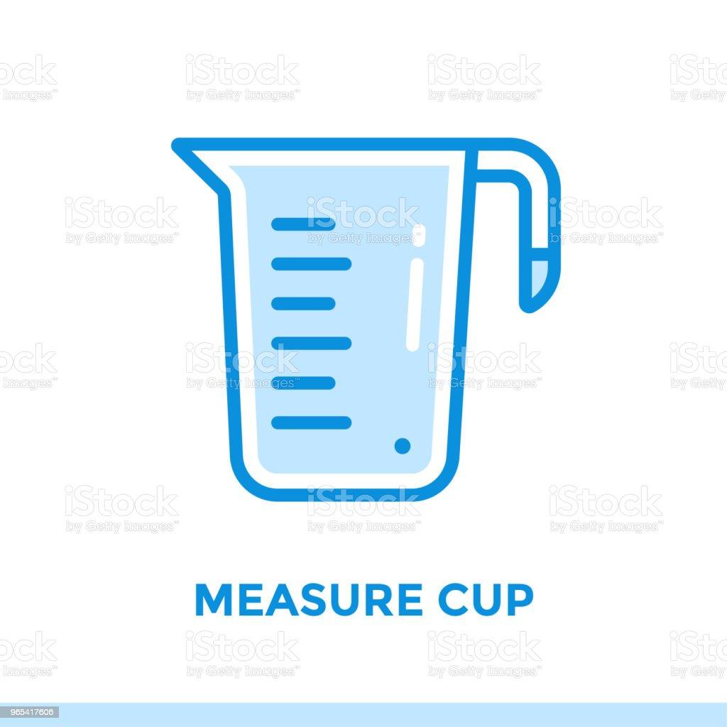 Ícone de contorno medida xícara de padaria, cozinhar. Ícones de linha vetor apropriados para informação gráfica, mídia impressa e interfaces - Vetor de Café da manhã royalty-free