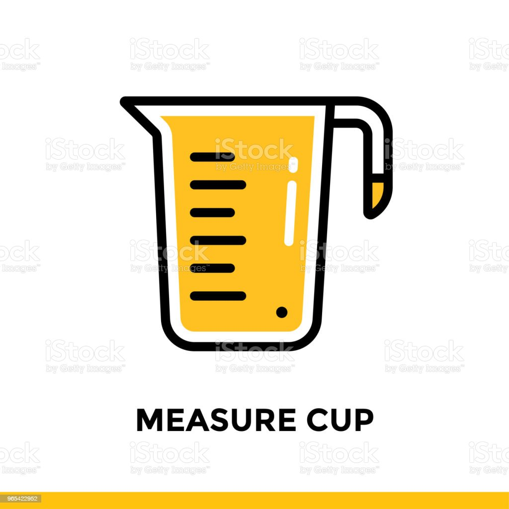 Outline icon MEASURE CUP of bakery, cooking. Vector line icons suitable for info graphics, print media and interfaces royalty-free outline icon measure cup of bakery cooking vector line icons suitable for info graphics print media and interfaces stock vector art & more images of bakery