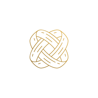 Minimal vector illustration of linear style logo design template of intertwined engagement rings for wedding ceremony hand drawn with golden lines