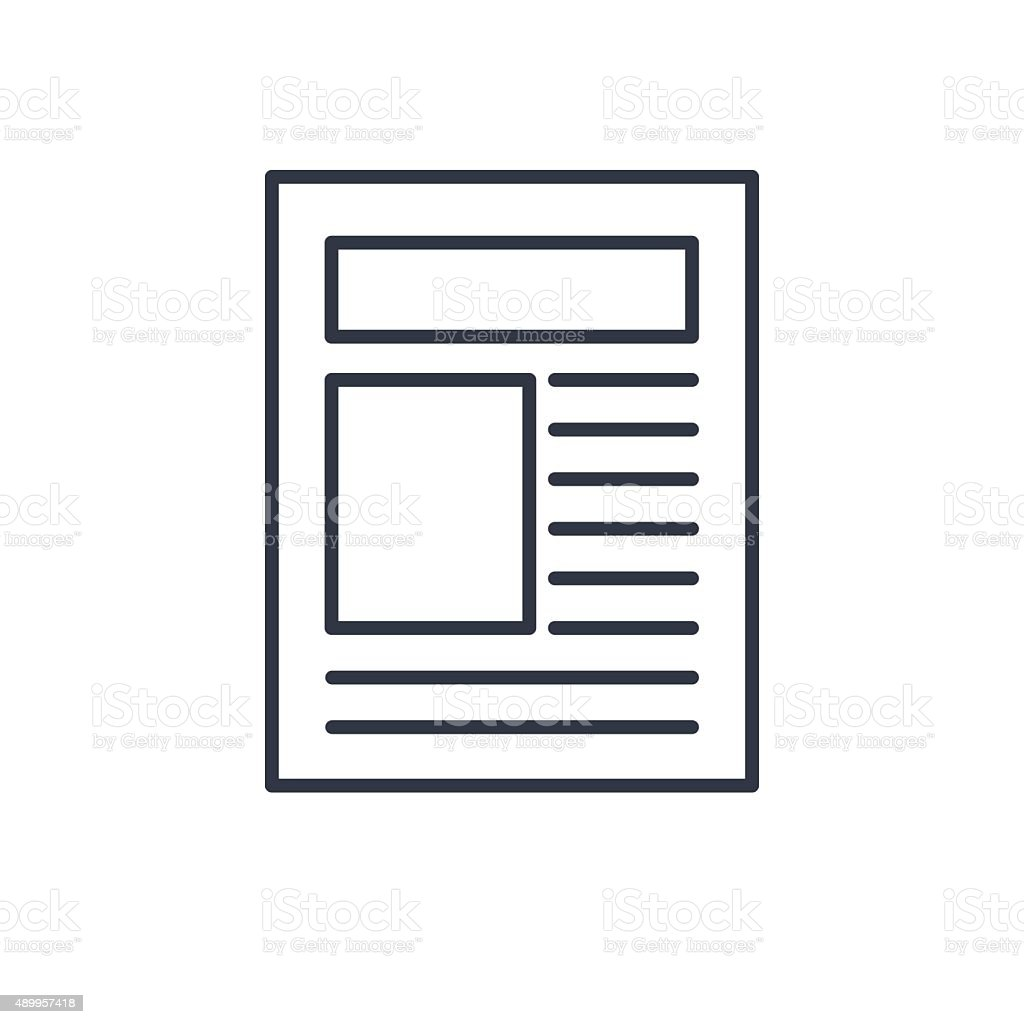 outline icon of newspaper article vector art illustration