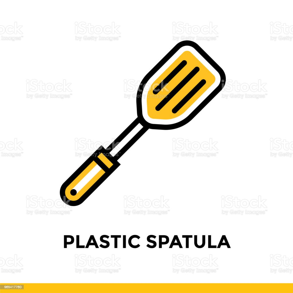Outline icon PLASTIC SPATULA of bakery, cooking. Vector line icons suitable for info graphics, print media and interfaces outline icon plastic spatula of bakery cooking vector line icons suitable for info graphics print media and interfaces - stockowe grafiki wektorowe i więcej obrazów bez ludzi royalty-free