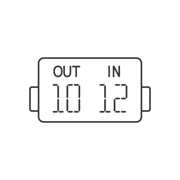 bildbanksillustrationer, clip art samt tecknat material och ikoner med kontur-ikonen - spelare substitution board - changing bulb led
