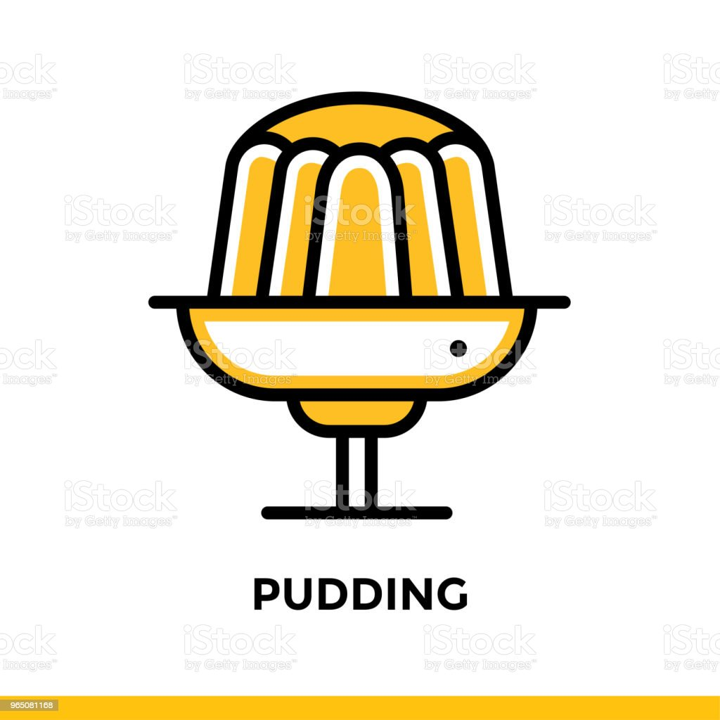 Outline icon PUDDING of bakery, cooking. Vector line icons suitable for info graphics, print media and interfaces royalty-free outline icon pudding of bakery cooking vector line icons suitable for info graphics print media and interfaces stock illustration - download image now