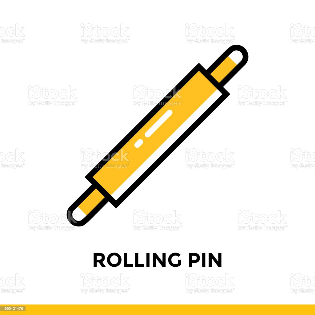 Outline icon ROLLING PIN of bakery, cooking. Vector line icons suitable for info graphics, print media and interfaces royalty-free outline icon rolling pin of bakery cooking vector line icons suitable for info graphics print media and interfaces stock vector art & more images of bakery