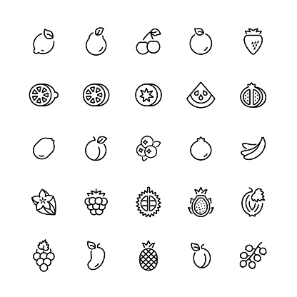 Outline icon set of fruits. Vector symbols.