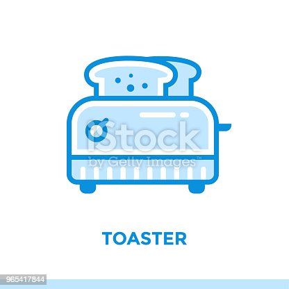 Outline Icon Toaster Of Bakery Cooking Vector Line Icons Suitable For Info Graphics Print Media And Interfaces - Stockowe grafiki wektorowe i więcej obrazów Bez ludzi 965417844