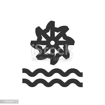 Water turbine icon in thick outline style. Black and white monochrome vector illustration.