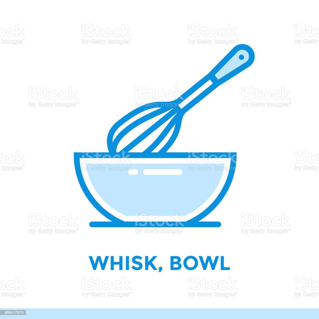 Outline icon WHISK, BOWL of bakery, cooking. Vector line icons suitable for info graphics, print media and interfaces royalty-free outline icon whisk bowl of bakery cooking vector line icons suitable for info graphics print media and interfaces stock vector art & more images of bakery